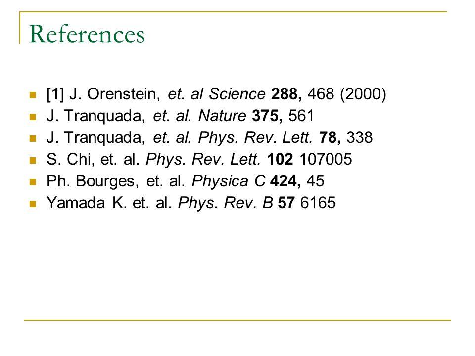 References [1] J. Orenstein, et. al Science 288, 468 (2000) J.