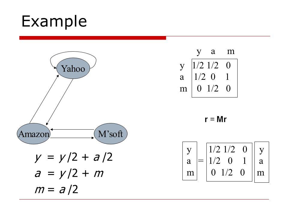 Example Yahoo M'softAmazon y 1/2 1/2 0 a 1/2 0 1 m 0 1/2 0 y a m y = y /2 + a /2 a = y /2 + m m = a /2 r = Mr y 1/2 1/2 0 y a = 1/2 0 1 a m 0 1/2 0 m