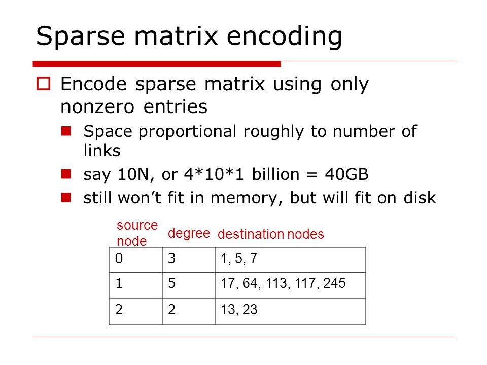 Sparse matrix encoding  Encode sparse matrix using only nonzero entries Space proportional roughly to number of links say 10N, or 4*10*1 billion = 40GB still won't fit in memory, but will fit on disk 03 1, 5, 7 15 17, 64, 113, 117, 245 22 13, 23 source node degree destination nodes