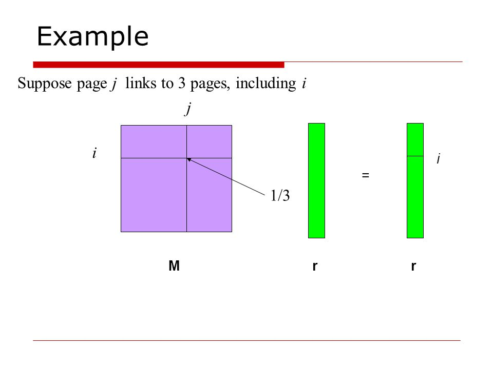 Example Suppose page j links to 3 pages, including i i j M r r = i 1/3
