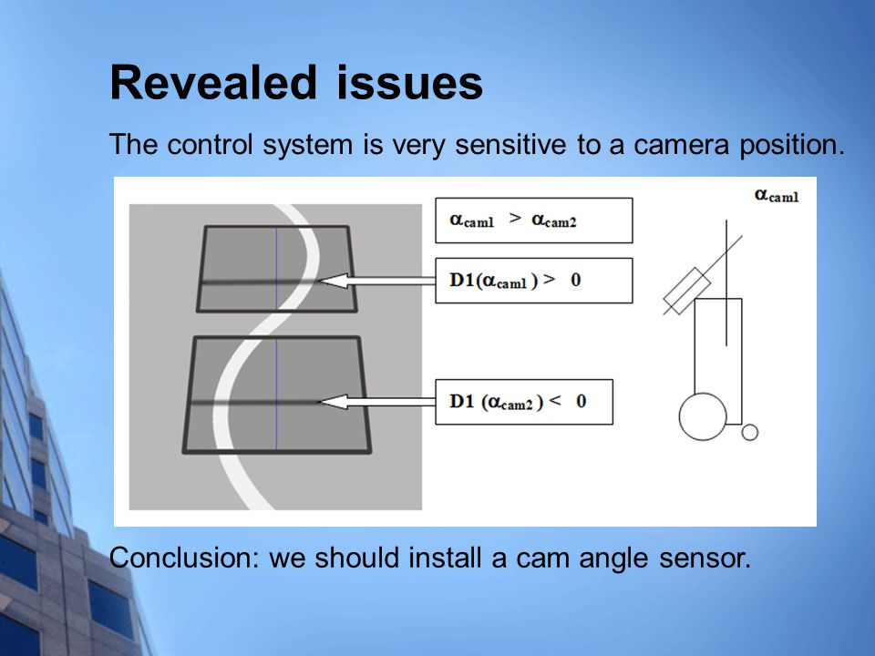 Revealed issues The control system is very sensitive to a camera position.