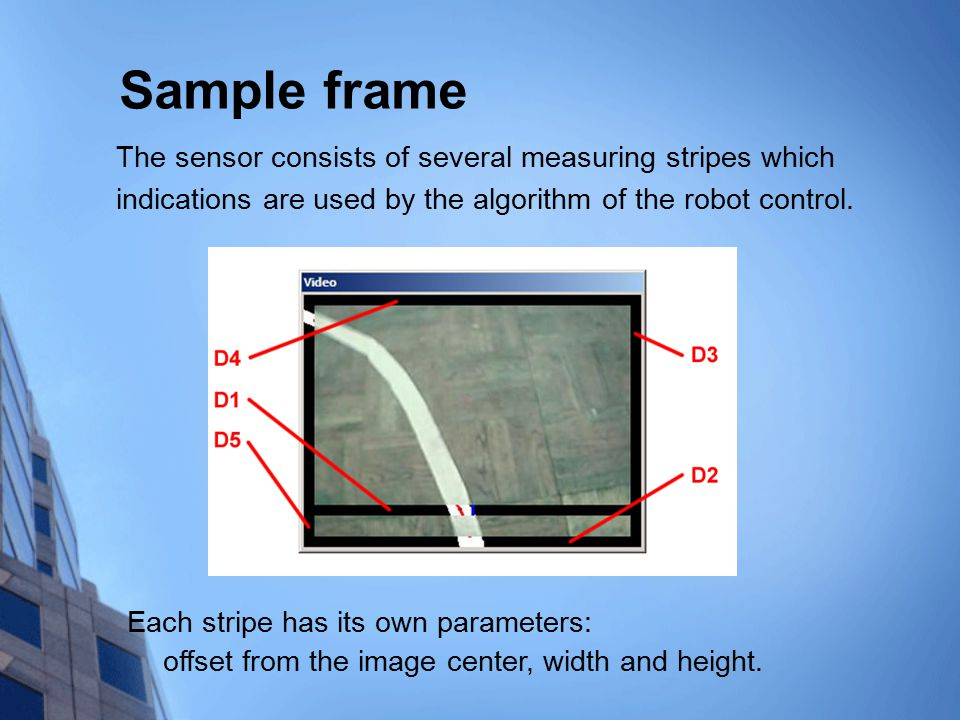 Sample frame The sensor consists of several measuring stripes which indications are used by the algorithm of the robot control.