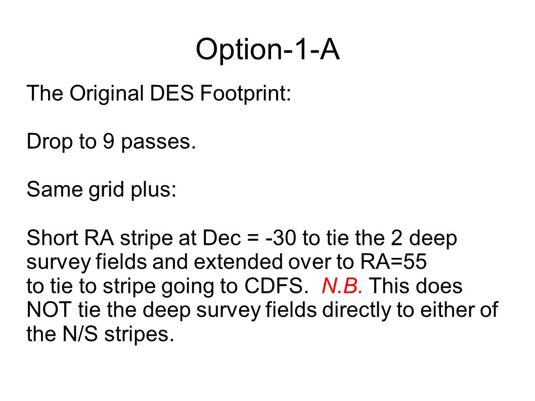 Option-1-A The Original DES Footprint: Drop to 9 passes.
