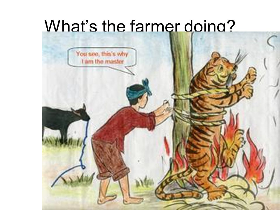What's the farmer doing?