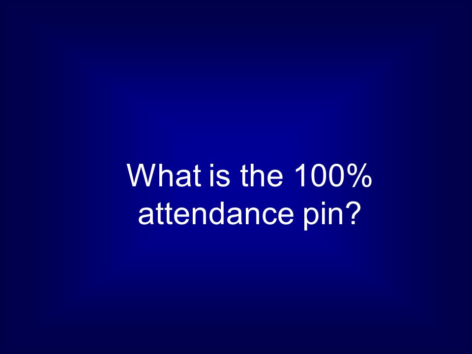 What is the 100% attendance pin?