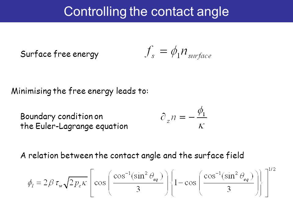 Minimising the free energy leads to: Surface free energy Boundary condition on the Euler-Lagrange equation A relation between the contact angle and th