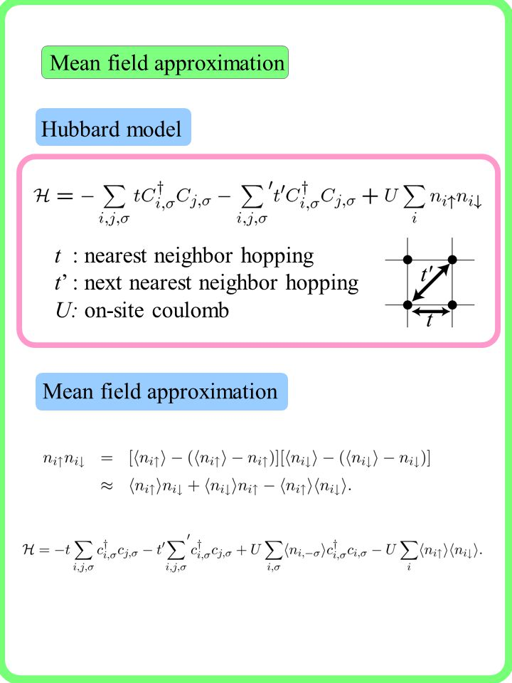Mean field approximation Hubbard model Mean field approximation t : nearest neighbor hopping t' : next nearest neighbor hopping U: on-site coulomb