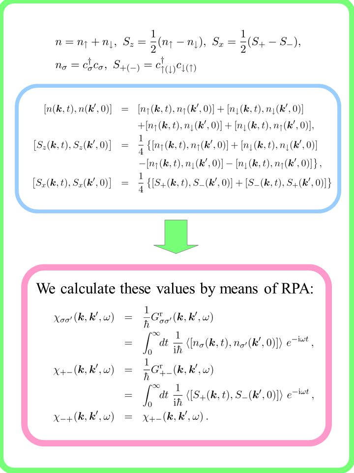 We calculate these values by means of RPA: