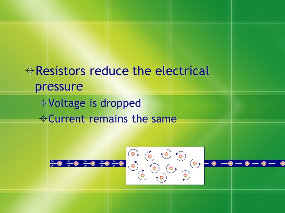  Resistors reduce the electrical pressure  Voltage is dropped  Current remains the same  Resistors reduce the electrical pressure  Voltage is dropped  Current remains the same --------- - - -- - - - - - - - -