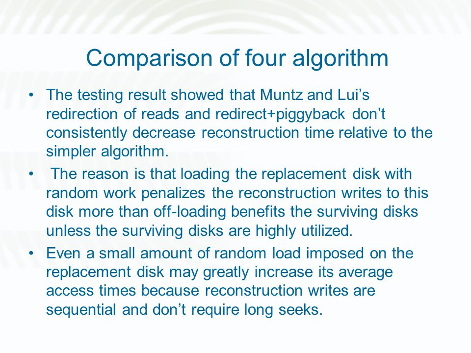 Comparison of four algorithm The testing result showed that Muntz and Lui's redirection of reads and redirect+piggyback don't consistently decrease re