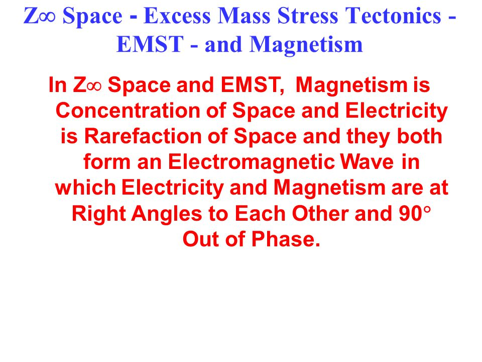 Z  Space - Excess Mass Stress Tectonics - EMST - and Magnetism In Z  Space and EMST, Magnetism is Concentration of Space and Electricity is Rarefaction of Space and they both form an Electromagnetic Wave in which Electricity and Magnetism are at Right Angles to Each Other and 90  Out of Phase.