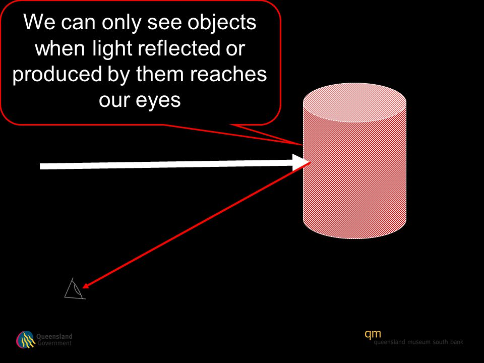 We can only see objects when light reflected or produced by them reaches our eyes