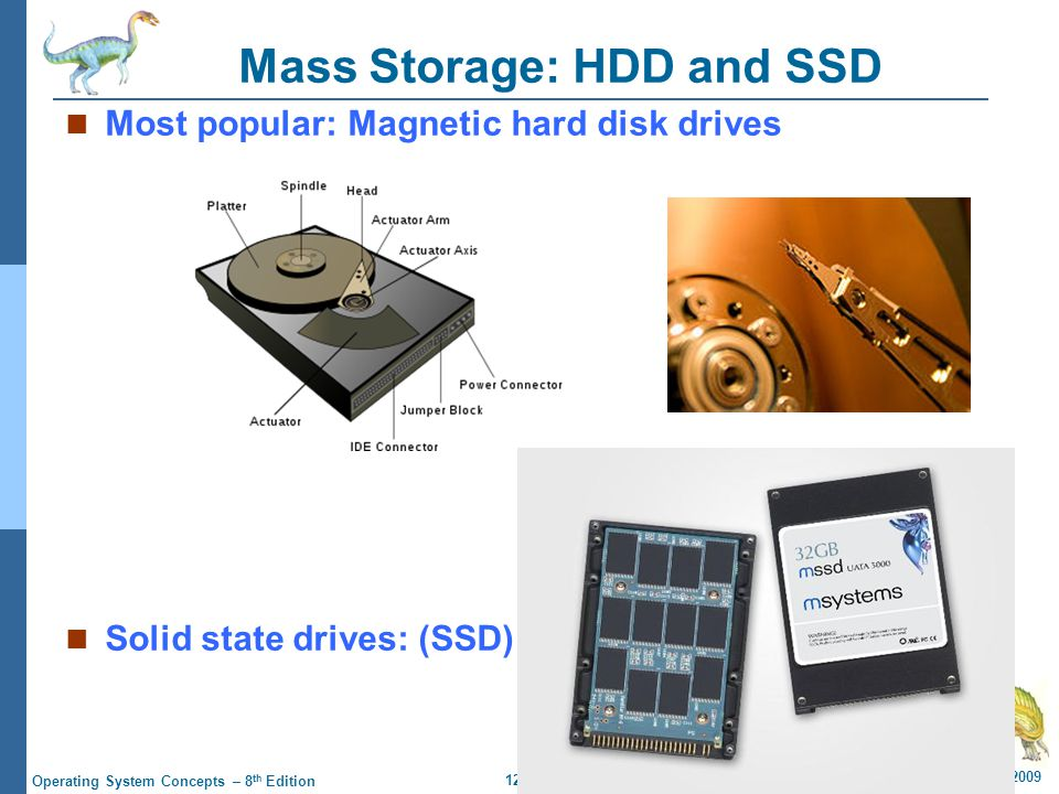 12.4 Silberschatz, Galvin and Gagne ©2009 Operating System Concepts – 8 th Edition Magnetic Tape Relatively permanent and holds large quantities of data Random access ~1000 times slower than disk Mainly used for backup, storage of infrequently-used data, transfer medium between systems 20-1.5TB typical storage Common technologies are 4mm, 8mm, 19mm, LTO-2 and SDLT