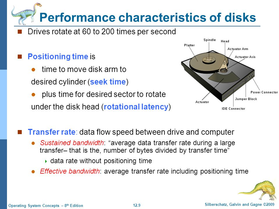 12.10 Silberschatz, Galvin and Gagne ©2009 Operating System Concepts – 8 th Edition Moving-head Disk Mechanism