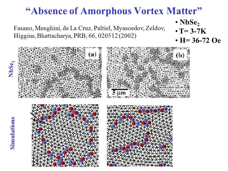 Absence of Amorphous Vortex Matter Fasano, Menghini, de La Cruz, Paltiel, Myasoedov, Zeldov, Higgins, Bhattacharya, PRB, 66, 020512 (2002) NbSe 2 T= 3-7K H= 36-72 Oe Simulations NbSe 2