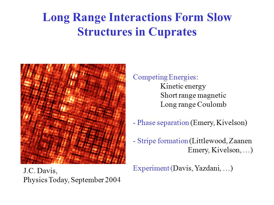 Long Range Interactions Form Slow Structures in Cuprates Competing Energies: Kinetic energy Short range magnetic Long range Coulomb - Phase separation (Emery, Kivelson) - Stripe formation (Littlewood, Zaanen Emery, Kivelson, …) Experiment (Davis, Yazdani, …) J.C.