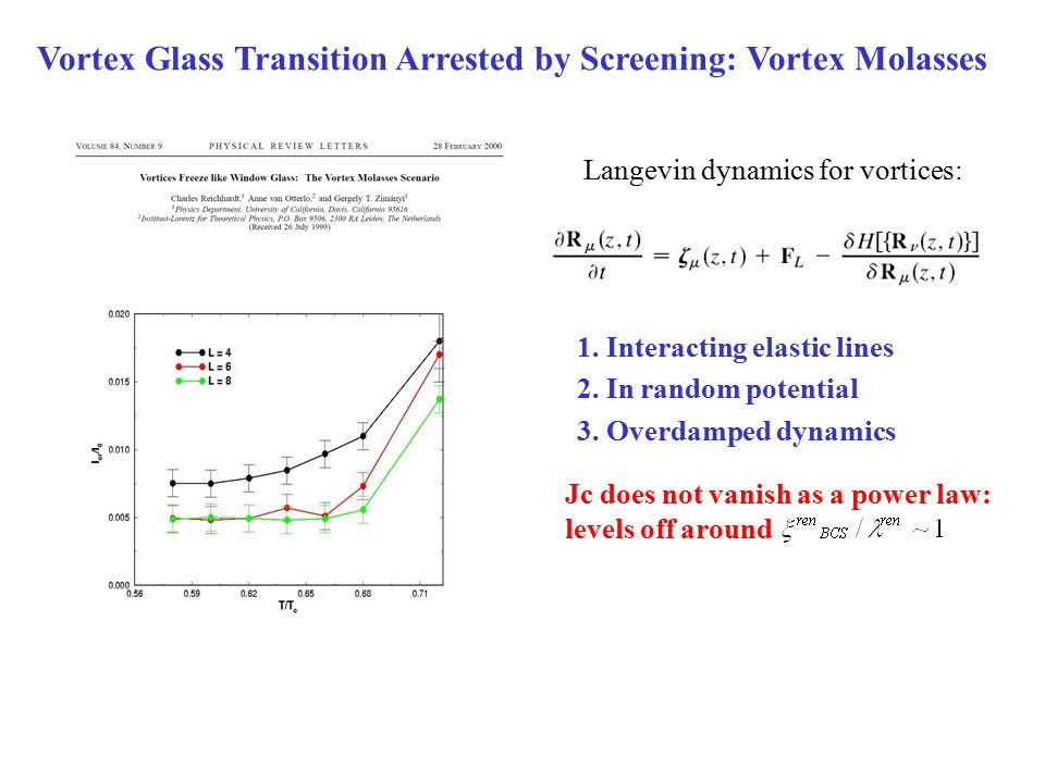 Vortex Glass Transition Arrested by Screening: Vortex Molasses Jc does not vanish as a power law: levels off around Langevin dynamics for vortices: 1.