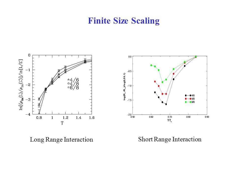 Finite Size Scaling Long Range Interaction Short Range Interaction
