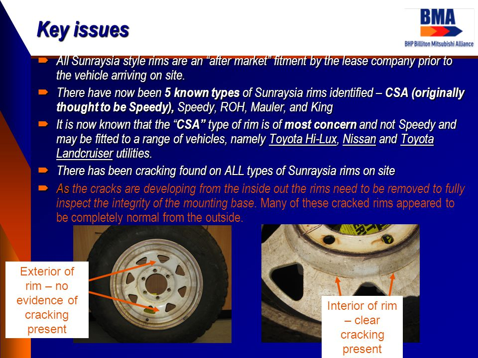 Key issues  All Sunraysia style rims are an after market fitment by the lease company prior to the vehicle arriving on site.