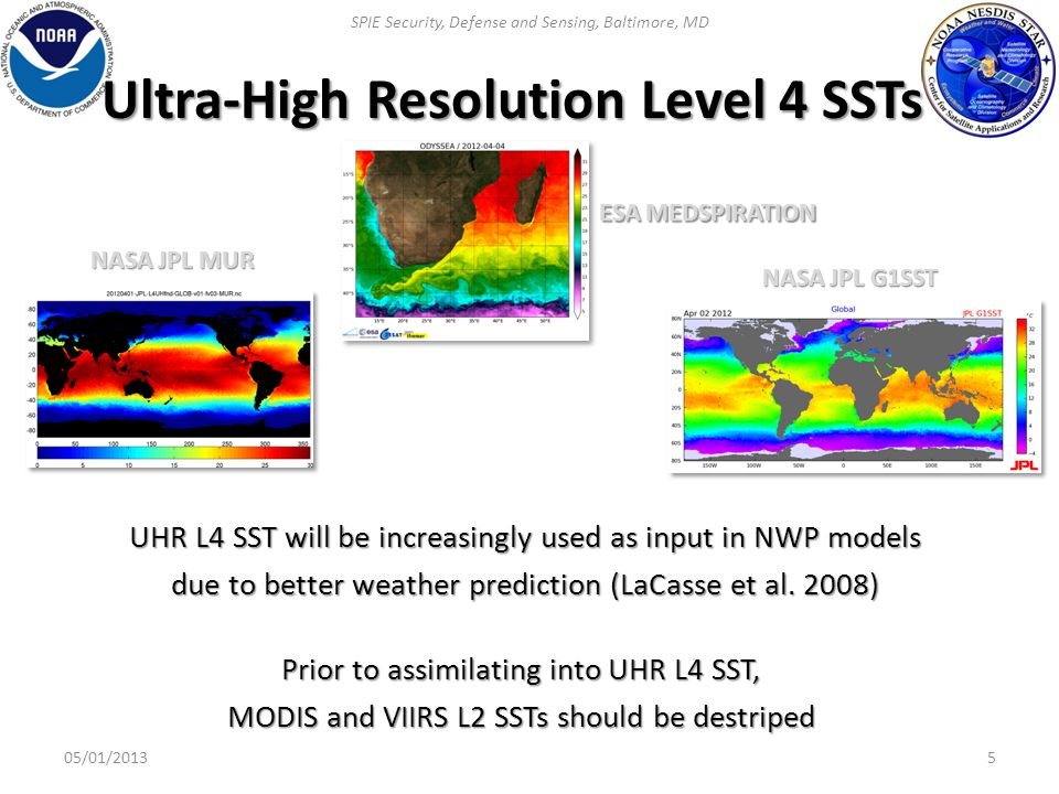 Mitigation of striping 6  Currently, blackbody (BB) and space view (SV) are used for absolute BT calibration on a scan-by-scan basis  This practice ensures that sensor uniformity performance is within pre-launch specification BUT it does not guarantee full mitigation of striping effect  Post-processing of L1B (SDR) is required to generate improved L1B, from which SST products with improved image quality can be produced SPIE Security, Defense and Sensing, Baltimore, MD 05/01/2013