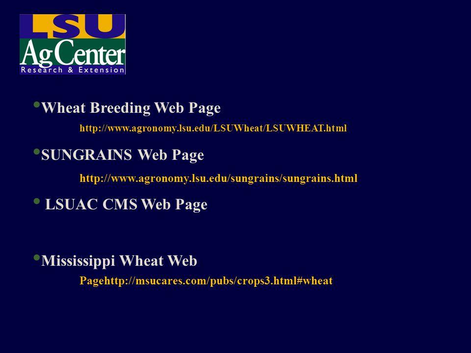 Wheat Breeding Web Page http://www.agronomy.lsu.edu/LSUWheat/LSUWHEAT.html SUNGRAINS Web Page http://www.agronomy.lsu.edu/sungrains/sungrains.html LSU