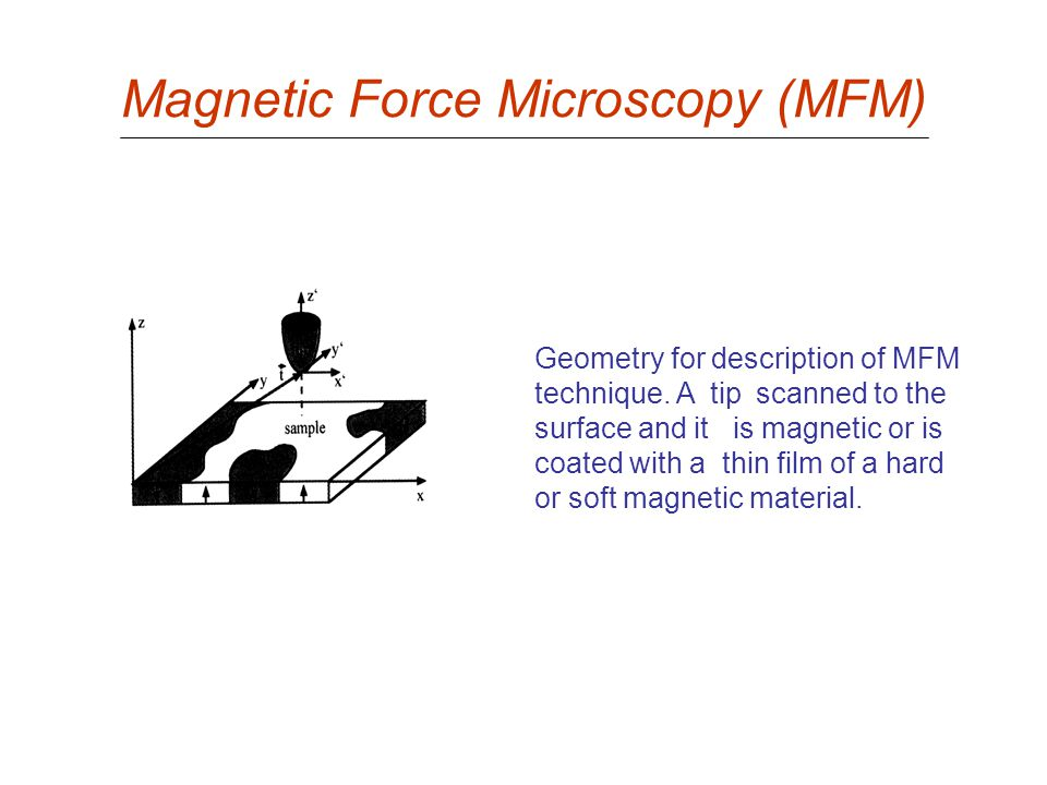 Magnetic Force Microscopy (MFM) Geometry for description of MFM technique. A tip scanned to the surface and it is magnetic or is coated with a thin fi