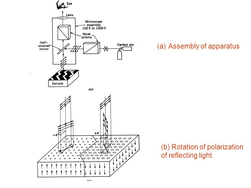 (a) Assembly of apparatus (b) Rotation of polarization of reflecting light.