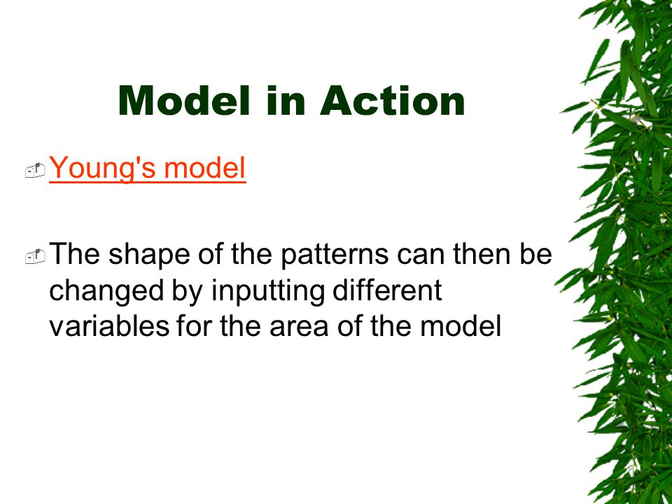 Model in Action  Young s model Young s model  The shape of the patterns can then be changed by inputting different variables for the area of the model