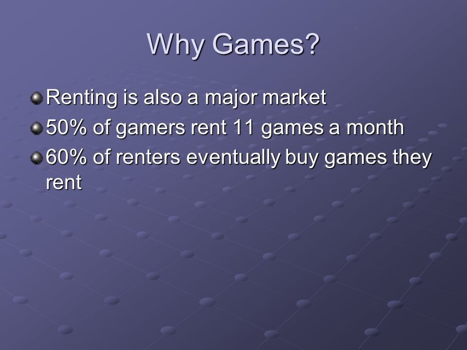 Why Games? Renting is also a major market 50% of gamers rent 11 games a month 60% of renters eventually buy games they rent