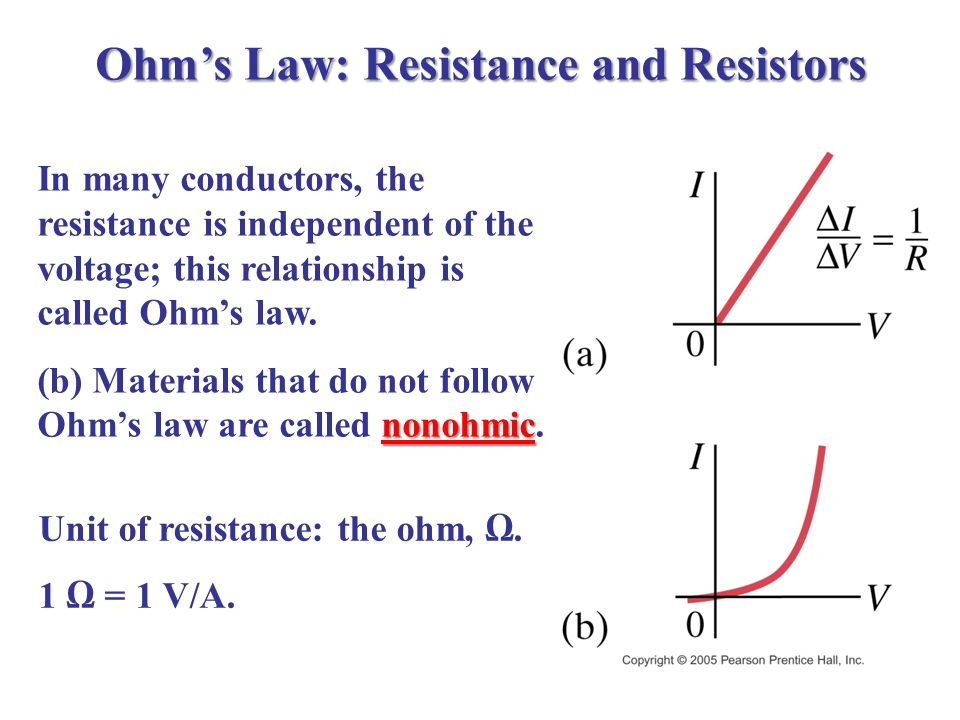 Ohm's Law: Resistance and Resistors In many conductors, the resistance is independent of the voltage; this relationship is called Ohm's law.