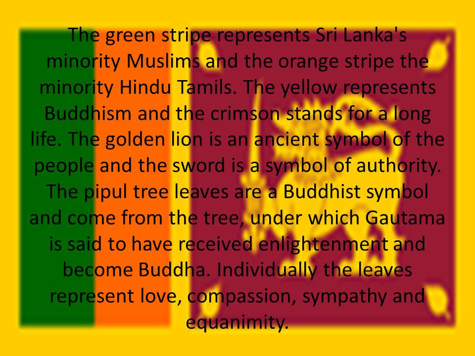The green stripe represents Sri Lanka s minority Muslims and the orange stripe the minority Hindu Tamils.