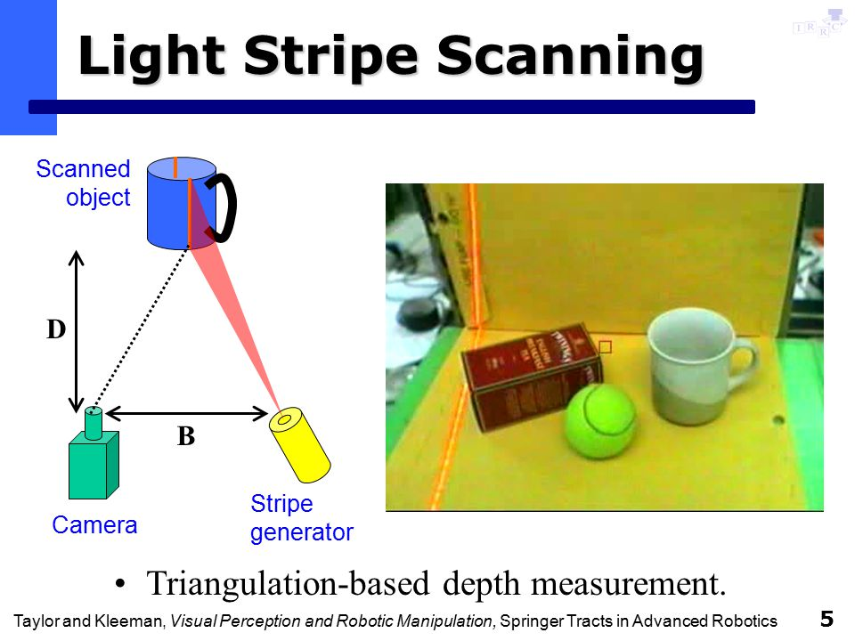 Taylor and Kleeman, Visual Perception and Robotic Manipulation, Springer Tracts in Advanced Robotics 26 Summary Integration of stereoscopic light stripe sensing, geometric object modelling, multi-cue tracking and visual servoing allows robot to perform ad hoc tasks with unknown objects.
