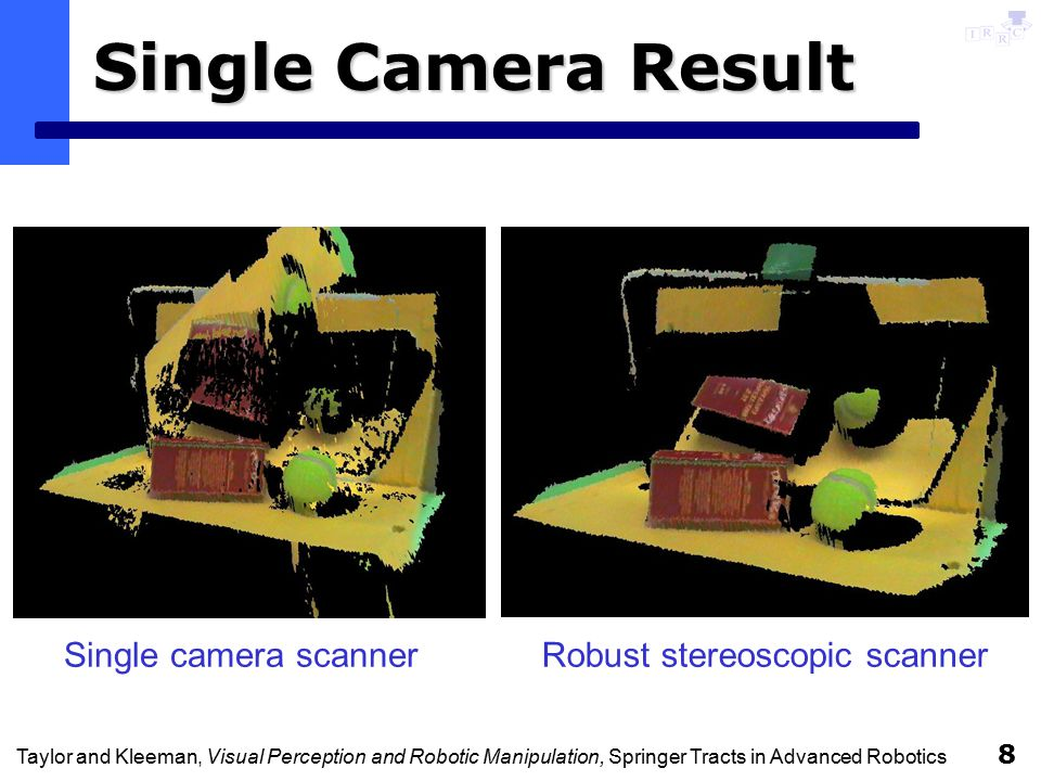Taylor and Kleeman, Visual Perception and Robotic Manipulation, Springer Tracts in Advanced Robotics 8 Single Camera Result Single camera scannerRobust stereoscopic scanner
