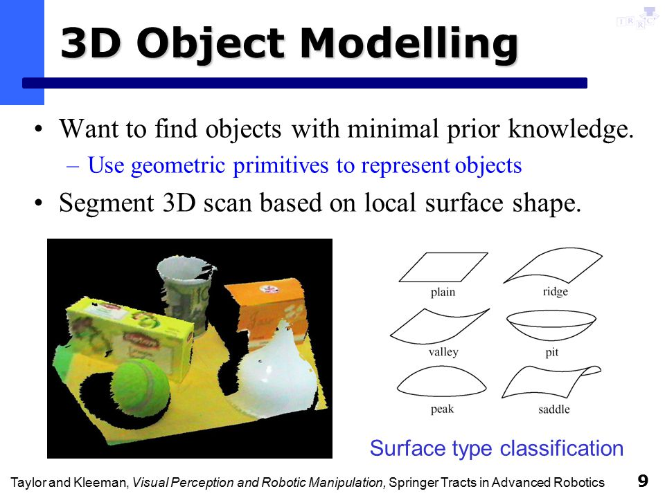 Taylor and Kleeman, Visual Perception and Robotic Manipulation, Springer Tracts in Advanced Robotics 10 Segmentation Fit plane, sphere, cylinder and cone to segments.