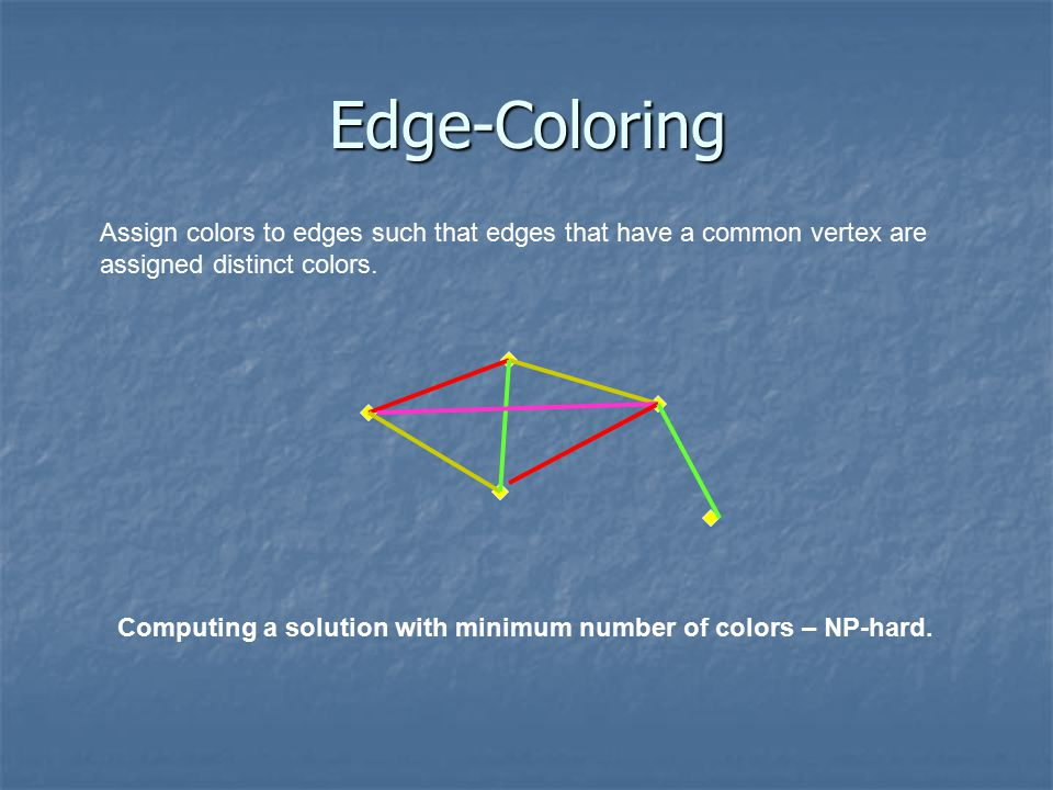 Edge-Coloring The number of colors in an optimal solution is >  Definition:  – maximum vertex degree.