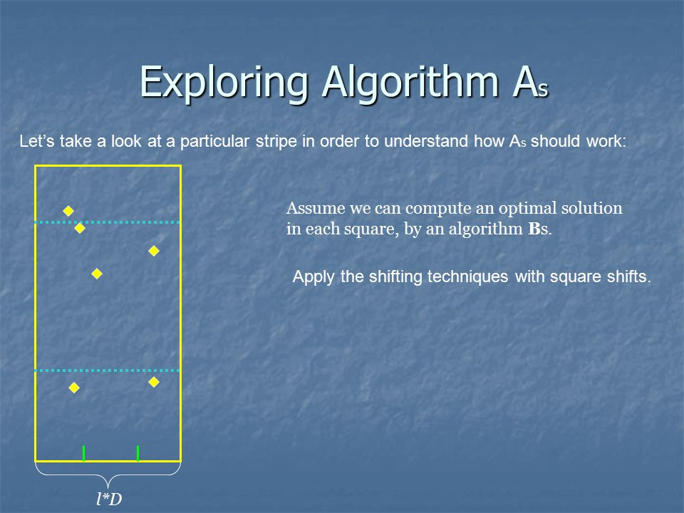 Exploring Algorithm A s Let's take a look at a particular stripe in order to understand how A s should work: l*D Assume we can compute an optimal solution in each square, by an algorithm Bs.