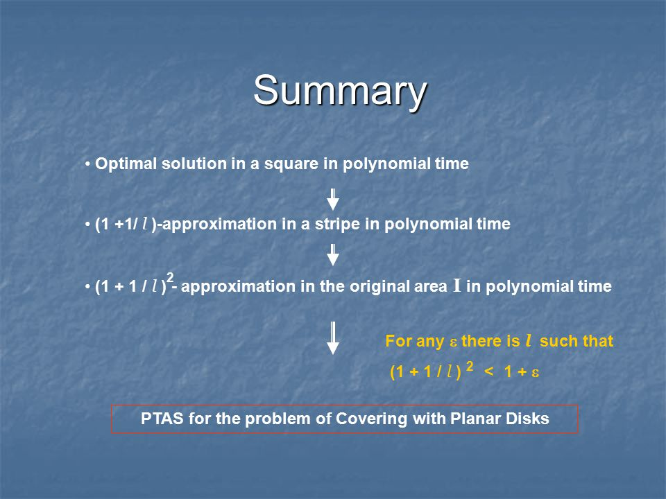 Summary Optimal solution in a square in polynomial time (1 +1/ l )-approximation in a stripe in polynomial time (1 + 1 / l ) - approximation in the original area I in polynomial time 2 PTAS for the problem of Covering with Planar Disks For any  there is l such that (1 + 1 / l ) < 1 +  2