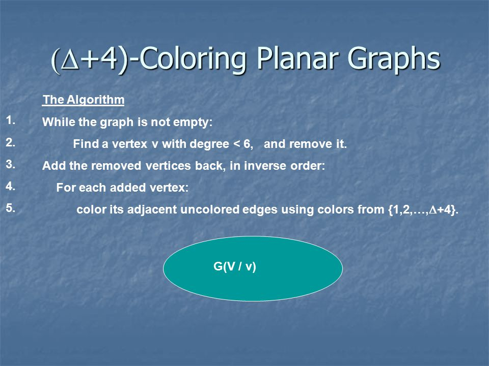 +4)-Coloring Planar Graphs The Algorithm While the graph is not empty: Find a vertex v with degree < 6, and remove it.