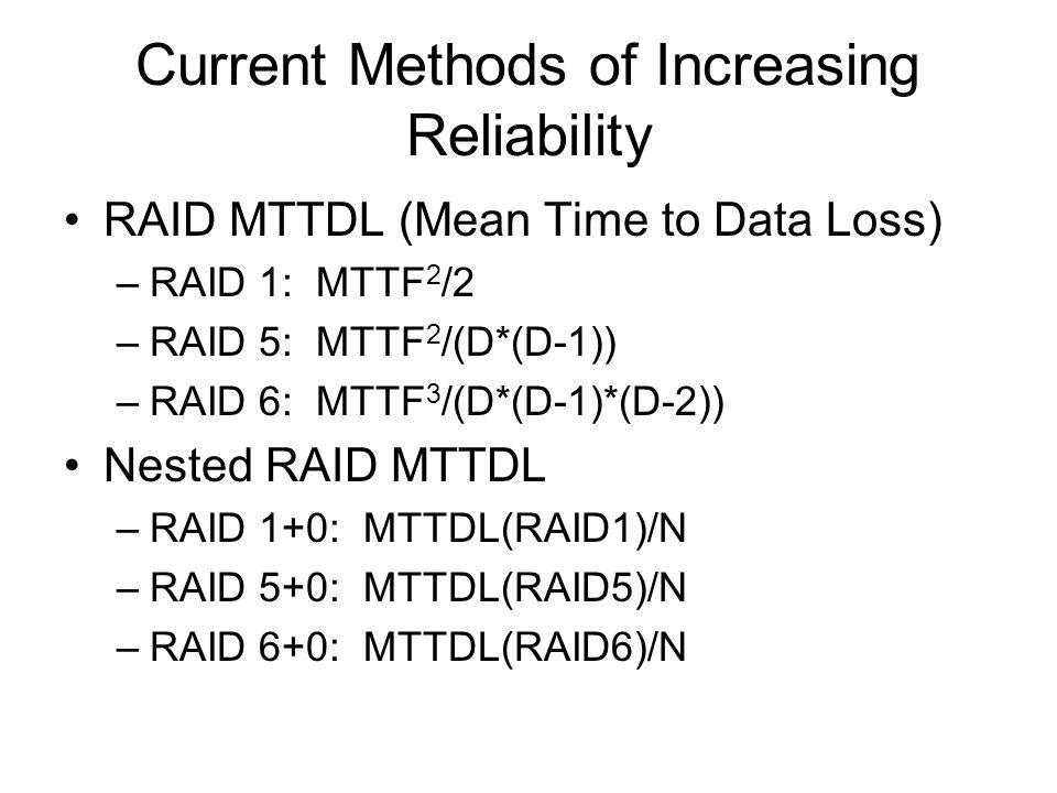 Current Methods of Increasing Reliability RAID MTTDL (Mean Time to Data Loss) –RAID 1: MTTF 2 /2 –RAID 5: MTTF 2 /(D*(D-1)) –RAID 6: MTTF 3 /(D*(D-1)*
