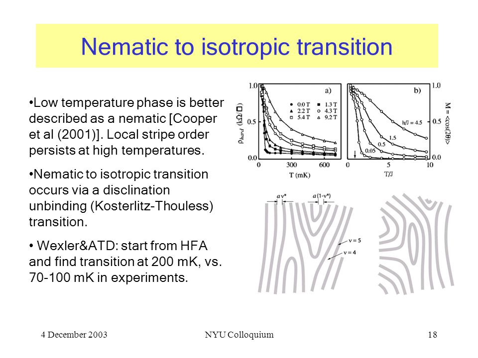 4 December 2003NYU Colloquium18 Nematic to isotropic transition Low temperature phase is better described as a nematic [Cooper et al (2001)].