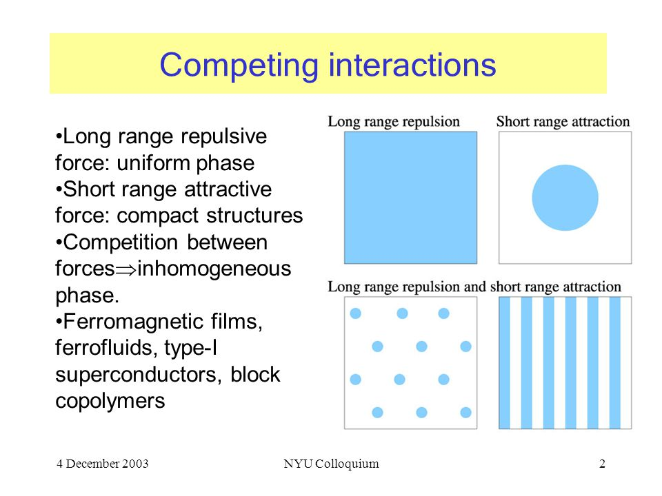 4 December 2003NYU Colloquium2 Competing interactions Long range repulsive force: uniform phase Short range attractive force: compact structures Competition between forces  inhomogeneous phase.