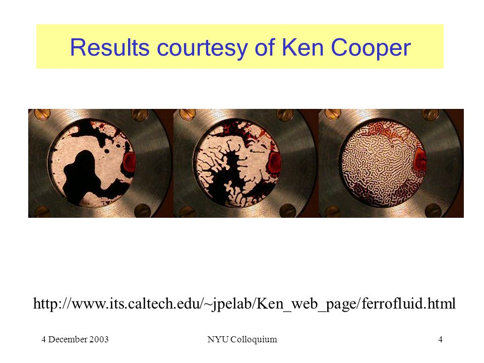 4 December 2003NYU Colloquium4 Results courtesy of Ken Cooper http://www.its.caltech.edu/~jpelab/Ken_web_page/ferrofluid.html