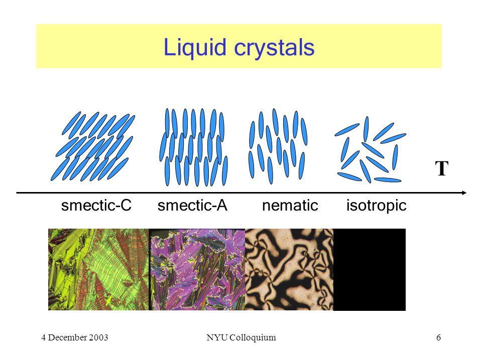 4 December 2003NYU Colloquium6 Liquid crystals T smectic-Csmectic-Anematicisotropic