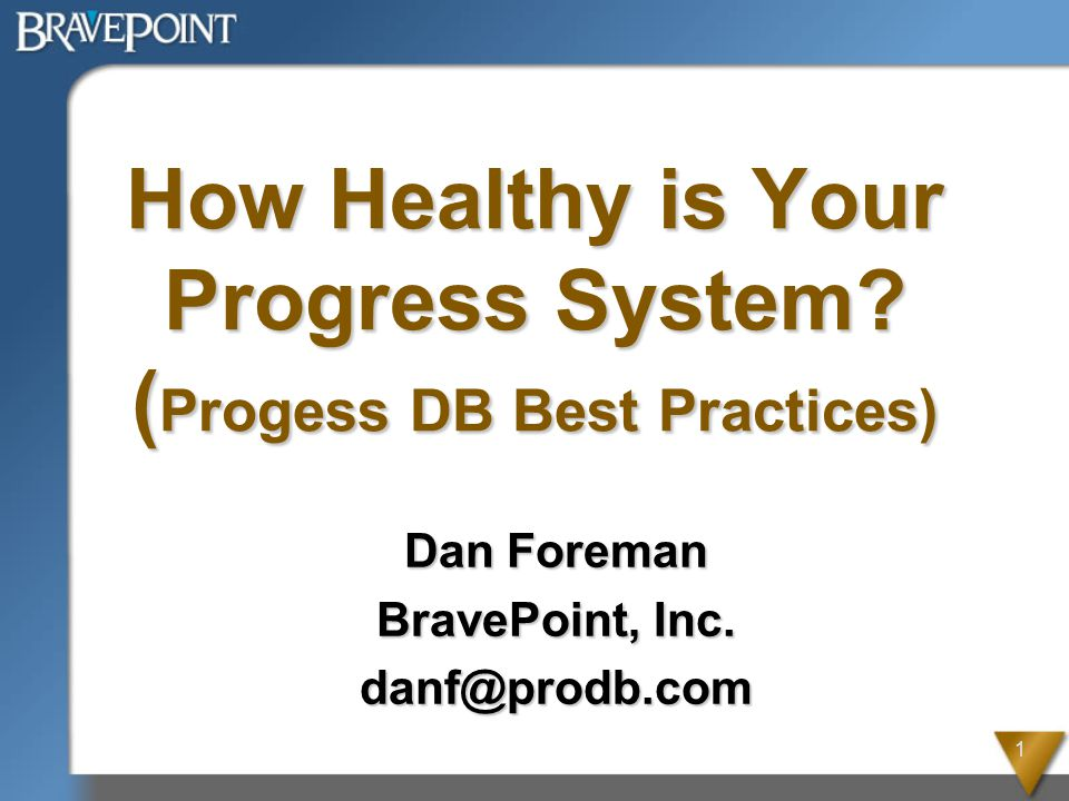 1 How Healthy is Your Progress System. ( Progess DB Best Practices) Dan Foreman BravePoint, Inc.