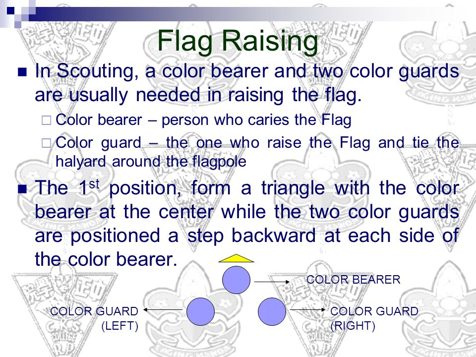 In Scouting, a color bearer and two color guards are usually needed in raising the flag.  Color bearer – person who caries the Flag  Color guard – t