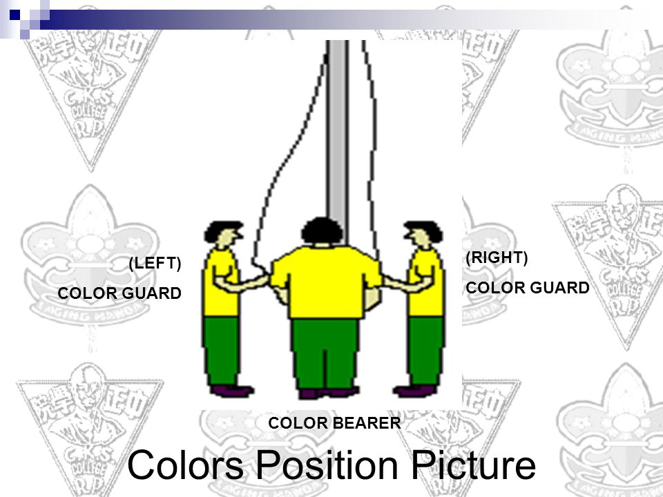 (RIGHT) COLOR GUARD (LEFT) COLOR GUARD COLOR BEARER Colors Position Picture
