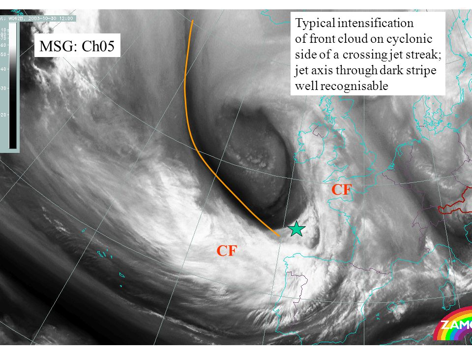 21 MSG: Ch05 CF Typical intensification of front cloud on cyclonic side of a crossing jet streak; jet axis through dark stripe well recognisable