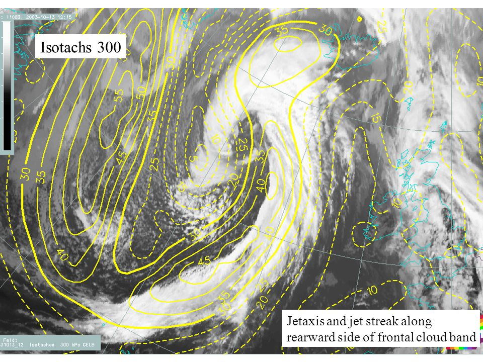 27 Isotachs 300 Jetaxis and jet streak along rearward side of frontal cloud band