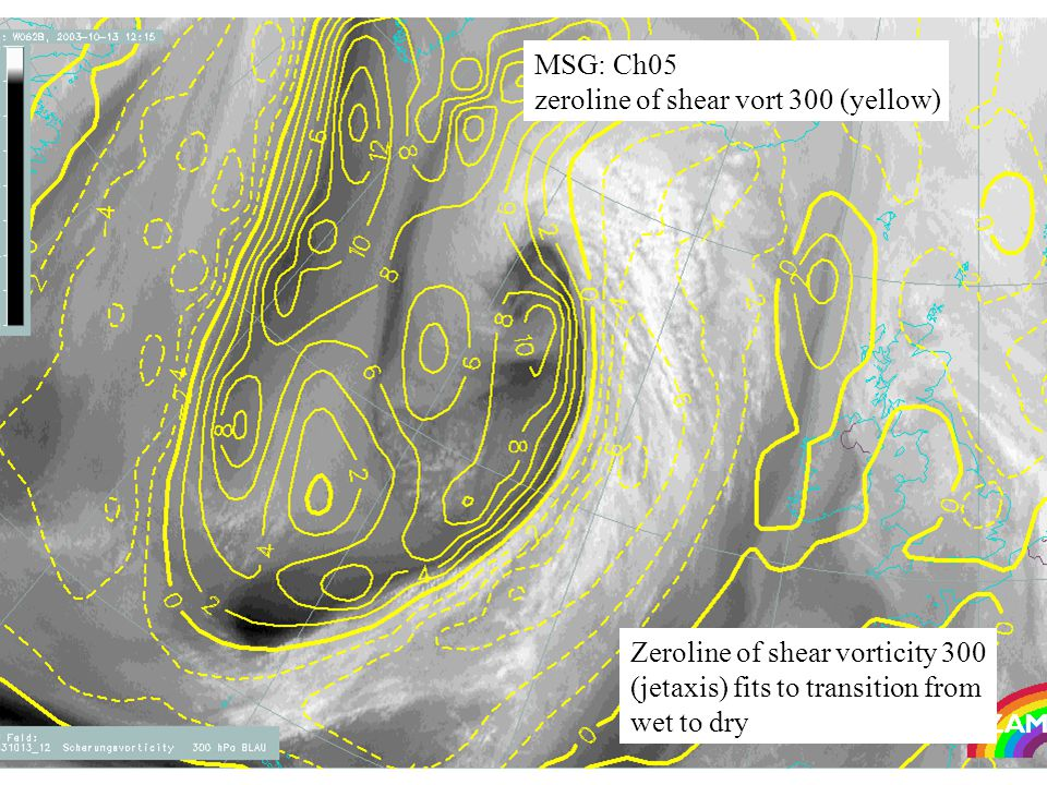 28 MSG: Ch05 zeroline of shear vort 300 (yellow) Zeroline of shear vorticity 300 (jetaxis) fits to transition from wet to dry