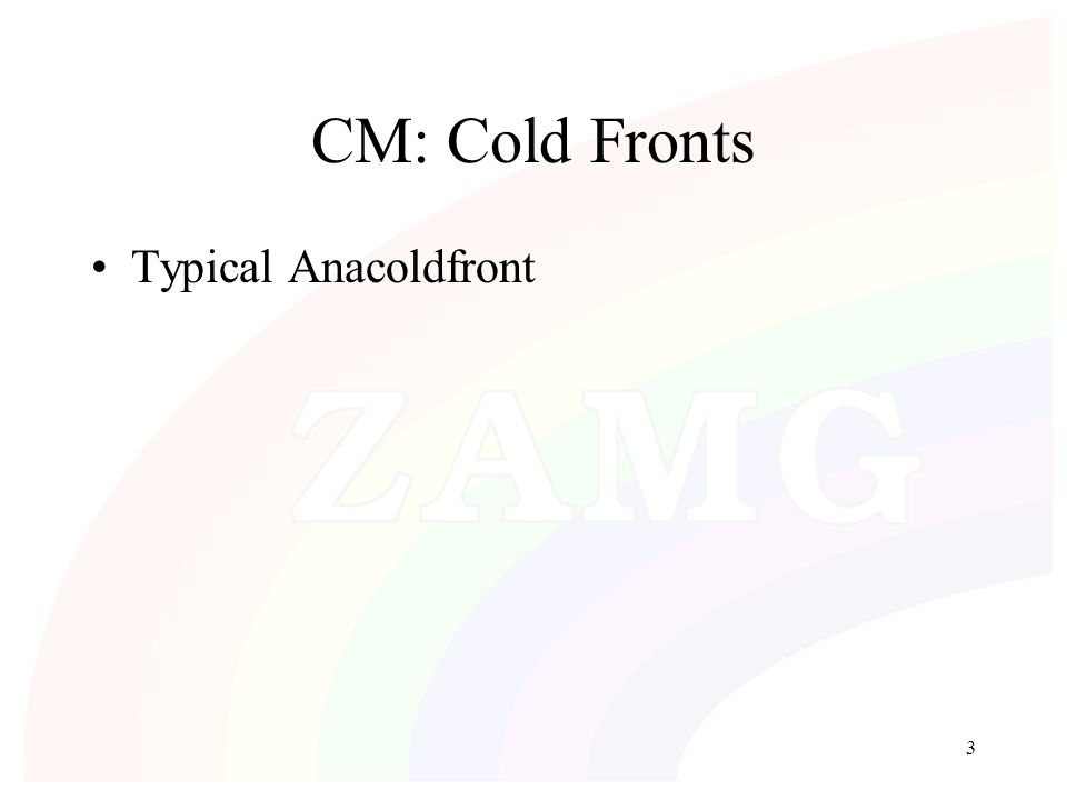 3 CM: Cold Fronts Typical Anacoldfront
